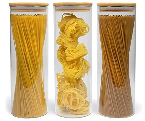 Elwin Neiles® Vorratsglas mit Deckel [3X 1700ml] - 100% luftdichte & stapelbare Glasbehälter - mottensichere Gläser - Vorratsdosen Glas mit Deckel