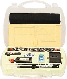 Set de caligrafía china Pincel de caligrafía Sumi Ink Reescribible Paño de escritura de agua Inkstone Set Felt Mat con caja de almacenamiento