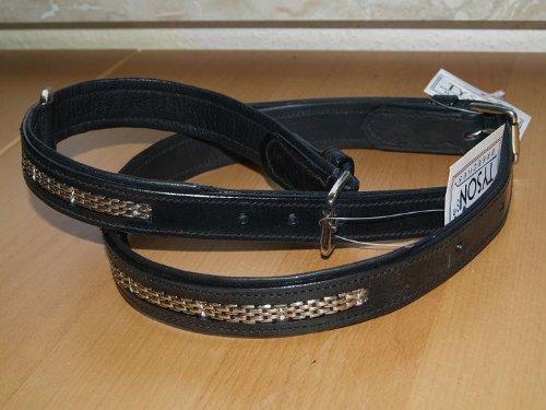 Hundehalsband Schmuckhalsband Lederhalsband Halsband Leder Schwarz Kette Hund Gr. M/L HIER Gr. L 47-57 cm