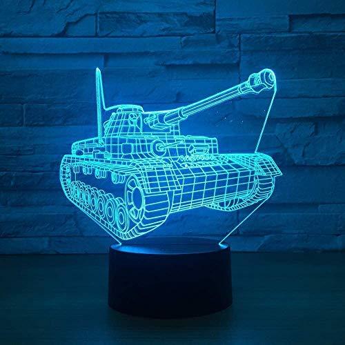 Cool Tank - Luz nocturna 3D con interruptor táctil, 7 colores cambiantes, lámpara de mesa LED visual, USB, decoración del hogar, juguete para niños, regalo