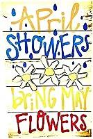 4月のシャワーは5月の花をもたらすヴィンテージメタルブリキサイン男の洞窟男性女性、バーの壁の装飾、レストラン、トイレカフェパブ、12x8インチ