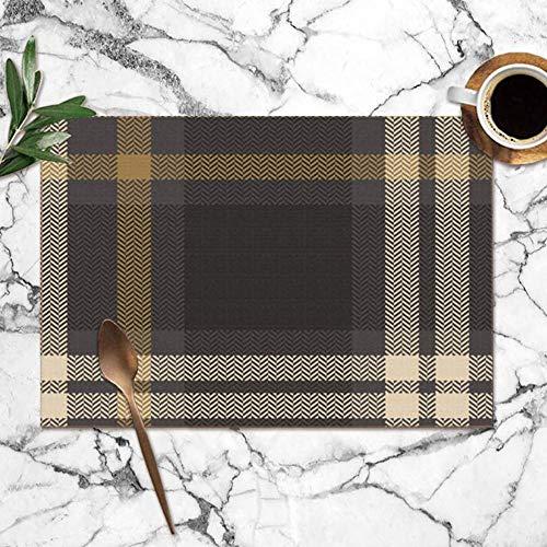 surce check geruite grafische visgraat abstract schoonheid mode wasbare placemats voor eettafel dubbele stof afdrukken polyester plaats matten voor keuken tafel set van 6 tafel mat 12x18 inch