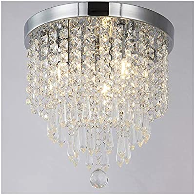 ZEEFO Crystal Chandeliers, Modern Pendant Flush Mount Ceiling Light Fixtures?3 Lights? H10.2 W9.8 Inches, Contemporary Elegant Design Style Suitable For Hallway, Living Room, Dining Room