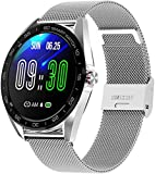KLT IP68 Waterproof Smart Watch 1 3 Inch HD Full Touch Round Screen Heart Rate Sleep Monitor Sport Smartwatch Fitness Tracker-One Size_Sliver Steel