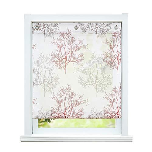 ESLIR – Estor sin agujeros, cortina con ojales, gasa, para cocina, transparente, con ojales, diseño de árboles, 1 pieza, 100% poliéster, rojo, BxH 80x140cm