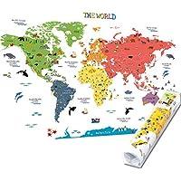 HomeEvolution, Mapa del mundo adhesivo [texto en inglés], de tamaño grande, desmontable, para niños, guardería, sala de juegos, decoración de pared