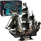 Puzzle 3D Boat Pirate, Barco Negro Pearl Caribbean Pirate 68cm,1:95 maqueta Barco Perla Negra,17LED luz la Perla Negra Adulto(Entrega en 2-5 días)
