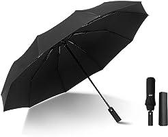 Kono Travel Windproof Umbrella Automatic Open Umbrellas with 10 Ribs Folding Rain Umbrella (Black)
