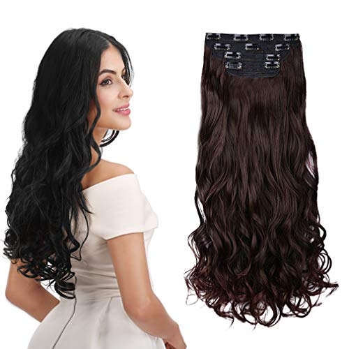 REECHO 16' Curly Wavy 4 Pieces Set Thick Clip in on Hair Extensions Dark Brown