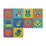 VeloVendo Alfombra Puzzle Infantiles con Certificado CE & TÜV | Suelo de espuma EVA | Tapete de Juego | Alfombra suave para Bebé | Manta Juegos (Animales)
