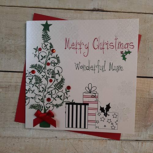 White Cotton Cards Merry Christmas Wonderful Mum tarjeta hecha a mano en forma de árbol de navidad y regalos