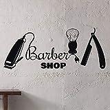 wZUN Barbería Tatuajes de Pared barbero salón de Belleza Logo Hombre salón decoración Vinilo Pegatinas de Pared 85X34cm