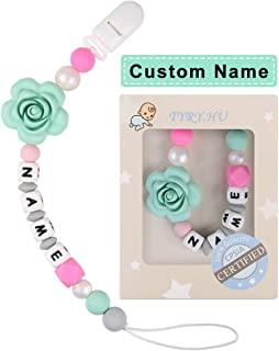 Pacifier Clip Personalized Name TYRY.HU Girls Binky Holder Baby Silicone Paci Clip BPA Free Chewable Beads Teething Relief Teether Toy Handmade Newborn Birthday Shower Gift Christmas (Green Rose)