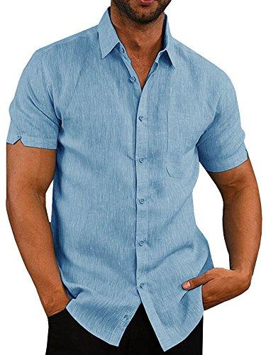 Fueri - Camiseta de manga corta para hombre, de lino, casual, con botones, ajustada, para verano, pesca, playa