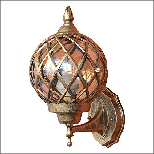 Lámpara de pared nórdica impermeable para jardín de vidrio IP44 Lámpara de pared para exterior de aluminio fundido a presión de bronce retro nórdico E27 redonda para interior / exterior 21,5*24,5*38cm