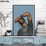 wtnhz Kein Rahmen Travis Scott Poster Rapper Musik Star Poster und Drucke Leinwand Malerei Wandkunst Bild für Wohnzimmer Home Decoration Neu 60x75cm