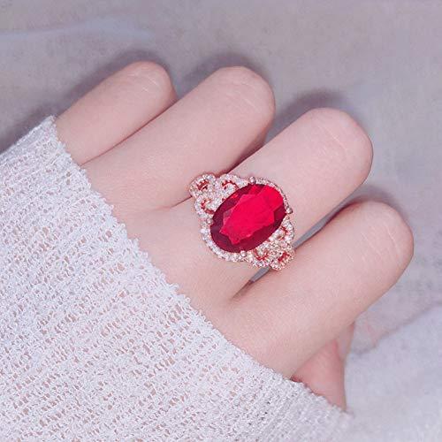 BAJSKD 14K Anillo de Diamantes de rubí Puro de Oro RosaBoda deCompromisopara Mujeres Topacio RojoJoyas de Plata Anillos de Jade Caliente