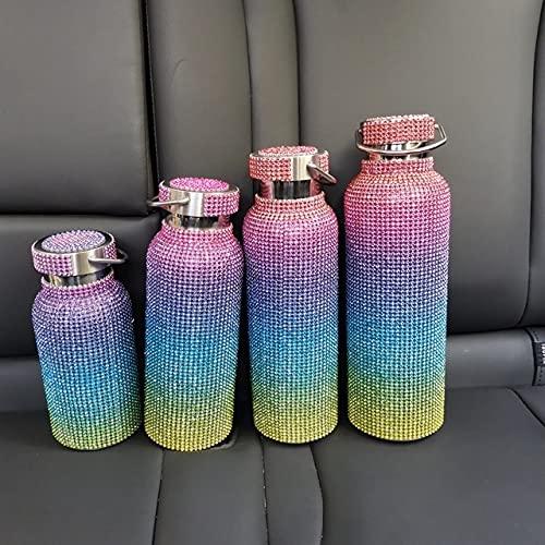 ZJJ Termo de Diamantes Coloridos creativos Botella de Agua de Acero Inoxidable 304 Frasco de vacío