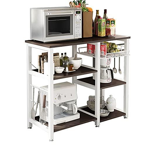 sogesfurniture Scaffale per Cucina in Acciaio Legno, 3 + 3 Ripiani Carrello da cucina per microonde Forno Scaffalature Organizzatore Salvaspazio, Nero W5S-BK-BH