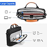 """tomtoc 13.5 Inch Laptop Shoulder Bag for 13-inch MacBook Pro, MacBook Air, Surface Book, Surface Laptop, Multi… 10 Compatibility: External dimensions- 14.17"""" x 10.43"""" x 2.76""""; Universal fit 13-inch MacBook Pro, MacBook Air, 12.9"""" iPad Pro, Microsoft Surface Book, Surface Laptop, Dell XPS 13, and more 13-inch laptops ultrabooks chrome books Ultra Protection: tomtoc laptop shoulder bag features protective padding at the bottom of the individual laptop compartmentand ultra-thick, yet lightweight protective cushioning to ensure your laptop will remain safe from drops, bumps, dents, scratches and spills, like the car airbag Well-organized: The main compartment features a laptop slot and a tablet slot for up to 11"""" iPad Pro with smart case & keyboard. Two front pockets With small and large pockets, and multiple elastic bands to make it easier than ever to organize accessories such as charger, cable, mouse, hub etc."""