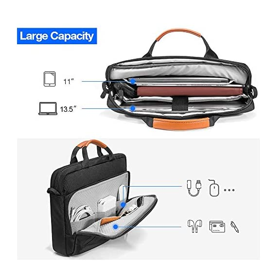 """tomtoc 13.5 Inch Laptop Shoulder Bag for 13-inch MacBook Pro, MacBook Air, Surface Book, Surface Laptop, Multi… 3 Compatibility: External dimensions- 14.17"""" x 10.43"""" x 2.76""""; Universal fit 13-inch MacBook Pro, MacBook Air, 12.9"""" iPad Pro, Microsoft Surface Book, Surface Laptop, Dell XPS 13, and more 13-inch laptops ultrabooks chrome books Ultra Protection: tomtoc laptop shoulder bag features protective padding at the bottom of the individual laptop compartmentand ultra-thick, yet lightweight protective cushioning to ensure your laptop will remain safe from drops, bumps, dents, scratches and spills, like the car airbag Well-organized: The main compartment features a laptop slot and a tablet slot for up to 11"""" iPad Pro with smart case & keyboard. Two front pockets With small and large pockets, and multiple elastic bands to make it easier than ever to organize accessories such as charger, cable, mouse, hub etc."""
