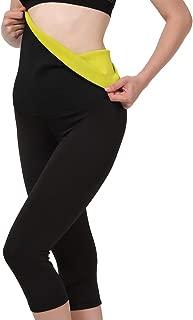 Women's High Waist Slimming Sweat Sauna Pants-[Neoprene & Spandex] Stitching Fabric, Compression Hot Thermo Body Shaper Capri Leggings for Waist Training and Fat Burning