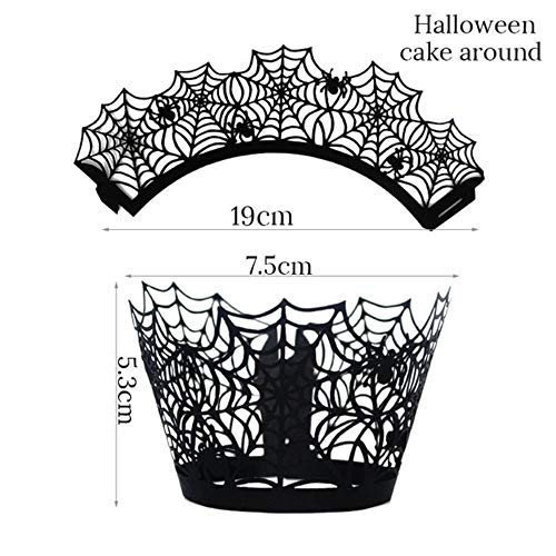 12 stks Halloween Decoratie Zwart Holle Papier Heks Spider web Kasteel Cupcake Wrappers Halloween Party Cake Decoraties Voor Kinderen