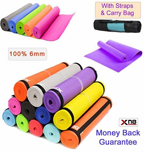 Tappetino da yoga, 6 mm di spessore, molto morbido, antiscivolo, in ABS, tappetino per fare esercizio, allenarsi, fitness, fare ginnastica, fisioterapia, pilates con borsa per il trasporto