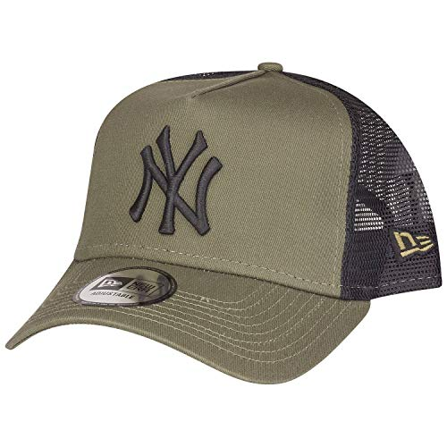 New Era New York Yankees A Frame Adjustable Trucker Cap League Essential Olive/Black - One-Size
