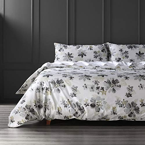 Exclusive Fabrics Furnishings Blossom Neutral Cotton Percale Printed Reversible Duvet Cover Set, King