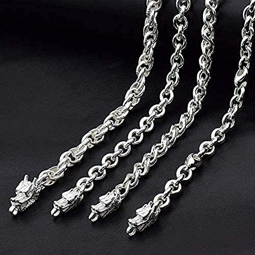 Halskette 925 Sterling Silber Halskette Handgemachte Drachen / Wasserhahn Halskette Vintage-Stil König Halskette Schwere Gefühl Persönlichkeit Männer und Frauen Silber Schmuck-5.5MM für Frauen Männer