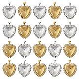 MILISTEN 48 Piezas de Bandejas Colgantes Kit de Diamantes de Imitación en Forma de Corazón Bandejas Colgantes de Vidrio Transparente Domo Azulejos para La Fabricación de Joyas DIY