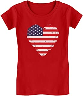TeeStars - Love USA 4th of July American Heart Flag Girls' Fitted Kids T-Shirt