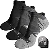 9. No Show Running Socks Men, Hylaea Moisture Wicking Athletic Tab Socks, No Blister, Coolmax Cushion Padded, ideal for Sports, Golf, Runner, Gym, Workout, Tennis, Low Cut, Gray Black Large, 3 Pairs