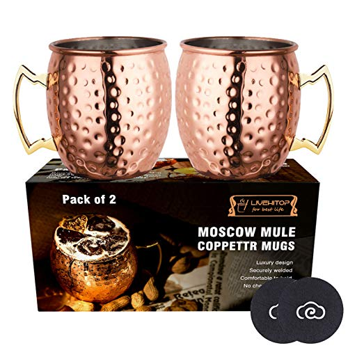 LIVEHITOP Moscow Mule Kupfer Becher Set of 2,18 Oz Kupferbecher mit Untersetzer for Cocktail, Wein, Kaltes Getränk, Bar, Party, Geschenke (Pack of 2)