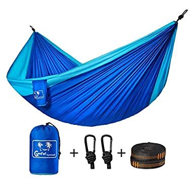 Coofel Camping Hammock, Portable Double Hammock Nylon Parachute Hammock for Travel Camping with Hammock Straps And Solid Steel Carabiners (Yellow & Green) (Blue& Sky Blue)