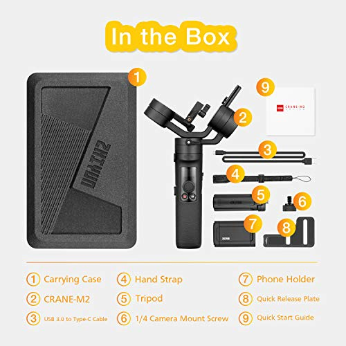 Zhiyun Crane-M2 (Crane M Upgraded) Estabilizador Gimbal de 3 Ejes Compatible con Camera Smartphone iPhone Android, Gopro 7 6 5, Sony 6300,Conon M6,Panasonic, 130 g-720 g Carga útil