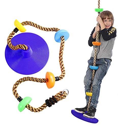 Sasaly Cuerda de oscilación con plataforma de asiento de disco Set Swing Toy Foot Holder Árbol colgante cuerda de escalada diversión para niños al aire libre (AB-púrpura, talla única)