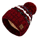 4sold Herren Damen Wurm Winter Style Beanie Strickmütze Mütze mit Fellbommel...