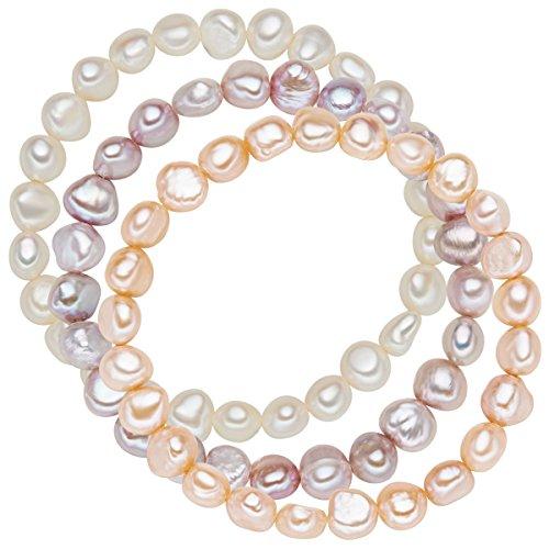 Valero Pearls Damen-Armband 3er Set Süßwasser Zuchtperlen weiß apricot flieder flexibel verstellbar - Perlenarmbänder Süßwasser-zuchtperle Set Armbandset Süßwasserperlen elastisch