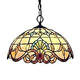 MHHQ Diseño de la vendimia Luz pendiente de Tiffany, que cuelgan del techo Lightin Ronda Lámpara rústica Pastoral Stained Glass Decoración Samsung Galaxy S9 Pl Oro