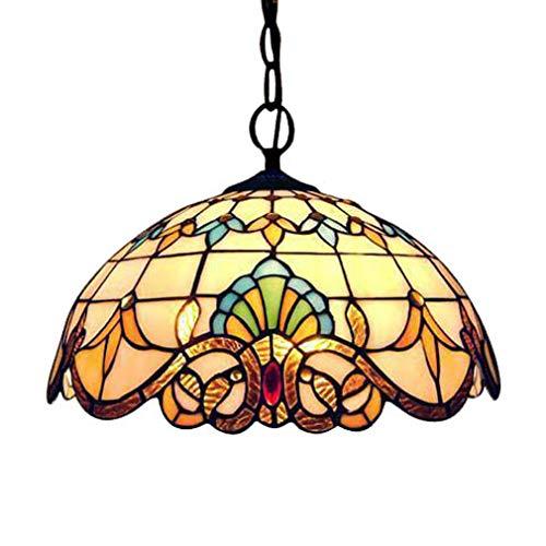 Tiffany Colgante de Luz Vendimia Diseño Sala Comedor Veranda Mediterráneo Corredor Balcón Archivos Adjuntos Lámpara Colgante Redondo Pastoral Rústico Vitral Decoración Iluminación de Techo E27 Ø20cm