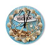 PotteLove 15 Inch Silent Vintage Wooden Round Wall Clock Non Ticking Quartz Battery Operated, Beach hut Beach House Rustic Chic Style Wooden Round Home Decor Wall Clock