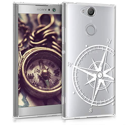 kwmobile Funda Compatible con Sony Xperia XA2 - Carcasa de TPU y Aguja magnética en Blanco/Transparente