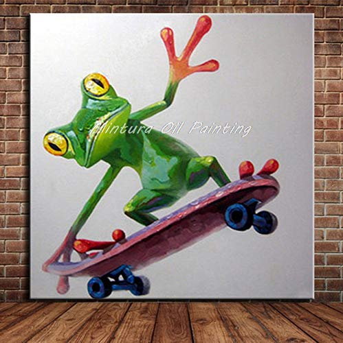 Olieverf, handbeschilderd, op canvas, dierverf, karikatuur, om te spelen, skateboard, zeer grote afmetingen, voor entree, woonkamer, slaapkamer 70 x 70 cm
