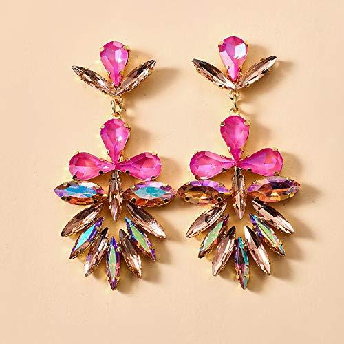 FEARRIN Pendientes de Moda Diseño único Colorido Cristal Brillante Piedra Pendientes Colgantes para Mujer Flores de Lujo Rhinestone Fiesta Joyería Regalo Pendientes 14372