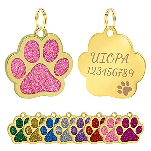 Uiopa Chapa Perro Grabada, Huellas Chapas Personalizadas Placas para Perros Grabadas 30mm Etiquetas de Identificación de Mascotas para Perros y Gatos, Grabada Nombre Número de Teléfono (Rosa)