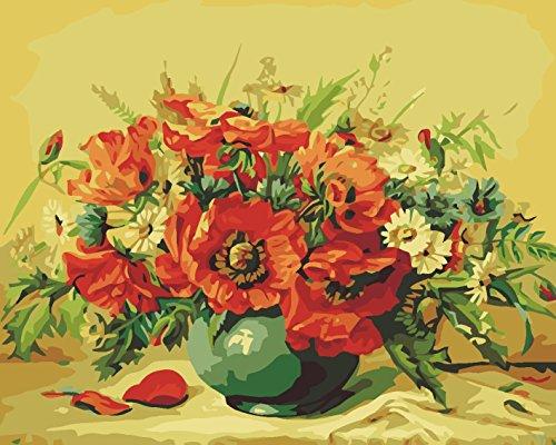Medigy Pintura por números Kits sobre Lienzo montado sobre Marco de Madera con Pinceles y Pinturas para Adultos niños Mayores Junior (Flores 155)