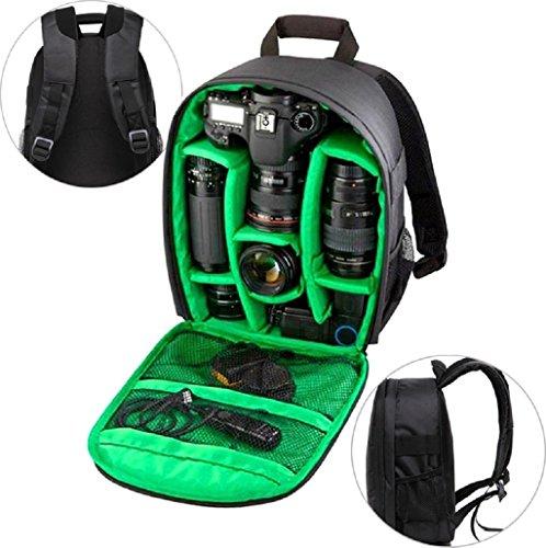 Theoutlettablet® - Zaino porta DSLR / fotocamera reflex, in tela, con coperchio impermeabile e borsa serbatoio interna regolabile, per obiettivi, accessori ecc