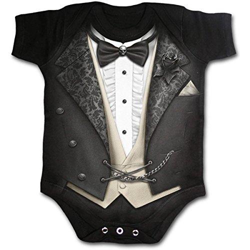SPIRAL Baby wachsen Schlafanzüge Sherrif Tuxedo Luft Gitarren Drucke Interlock - tuxedo-black, Small